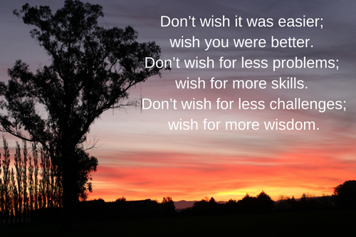 Don't wish it was easier; wish you were better.